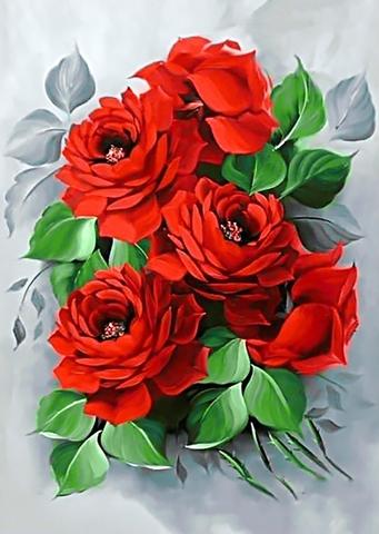 Алмазная Мозаика 30x40 Красные цветы на сером фоне