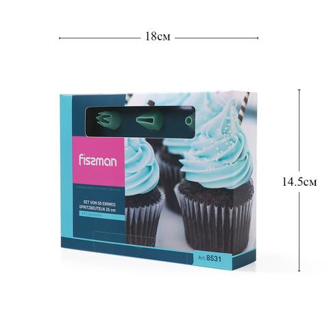8531 FISSMAN Набор из 50 одноразовых кондитерских мешков 35 см с 3 насадками, пластик,  купить