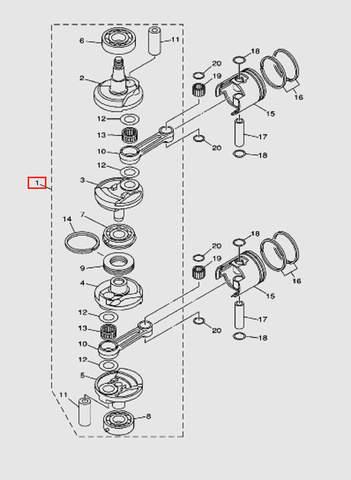 Коленвал в сборе для лодочного мотора T40 Sea-PRO (3-1)