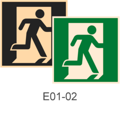 знаки фотолюминесцентные эвакуационные Е01-02 Выход здесь (правосторонний)