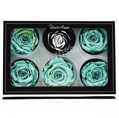 Стабилизированный Бутон Розы Rose Amour XL. Цвет Тиффани (Диаметр 6-7см)