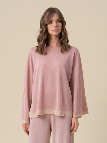 Женский свободный джемпер светло-розового цвета из вискозы - фото 1