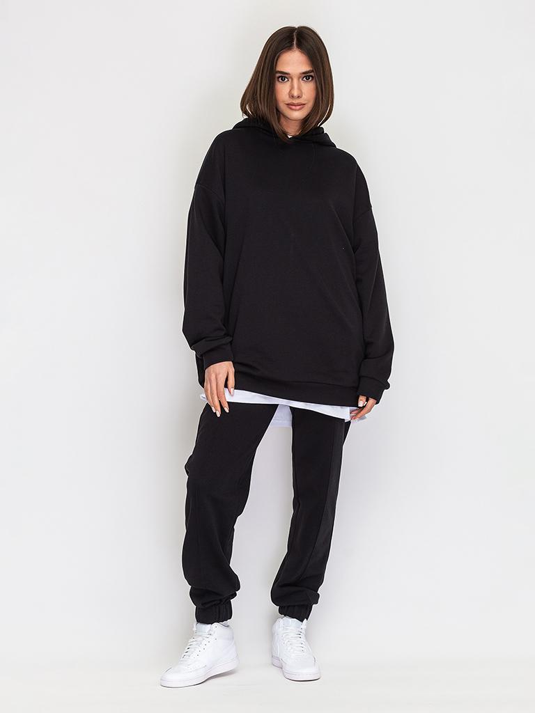 Брюки с фронтальными строчками черные YOS от украинского бренда Your Own Style