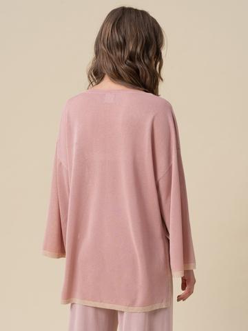 Женский свободный джемпер светло-розового цвета из вискозы - фото 2