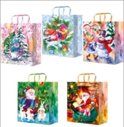Новогодние подарочные пакеты 26x33x14 ламинированный (Микс)