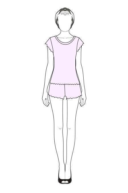 Выкройка женской пижамы с шортиками тех рисунок