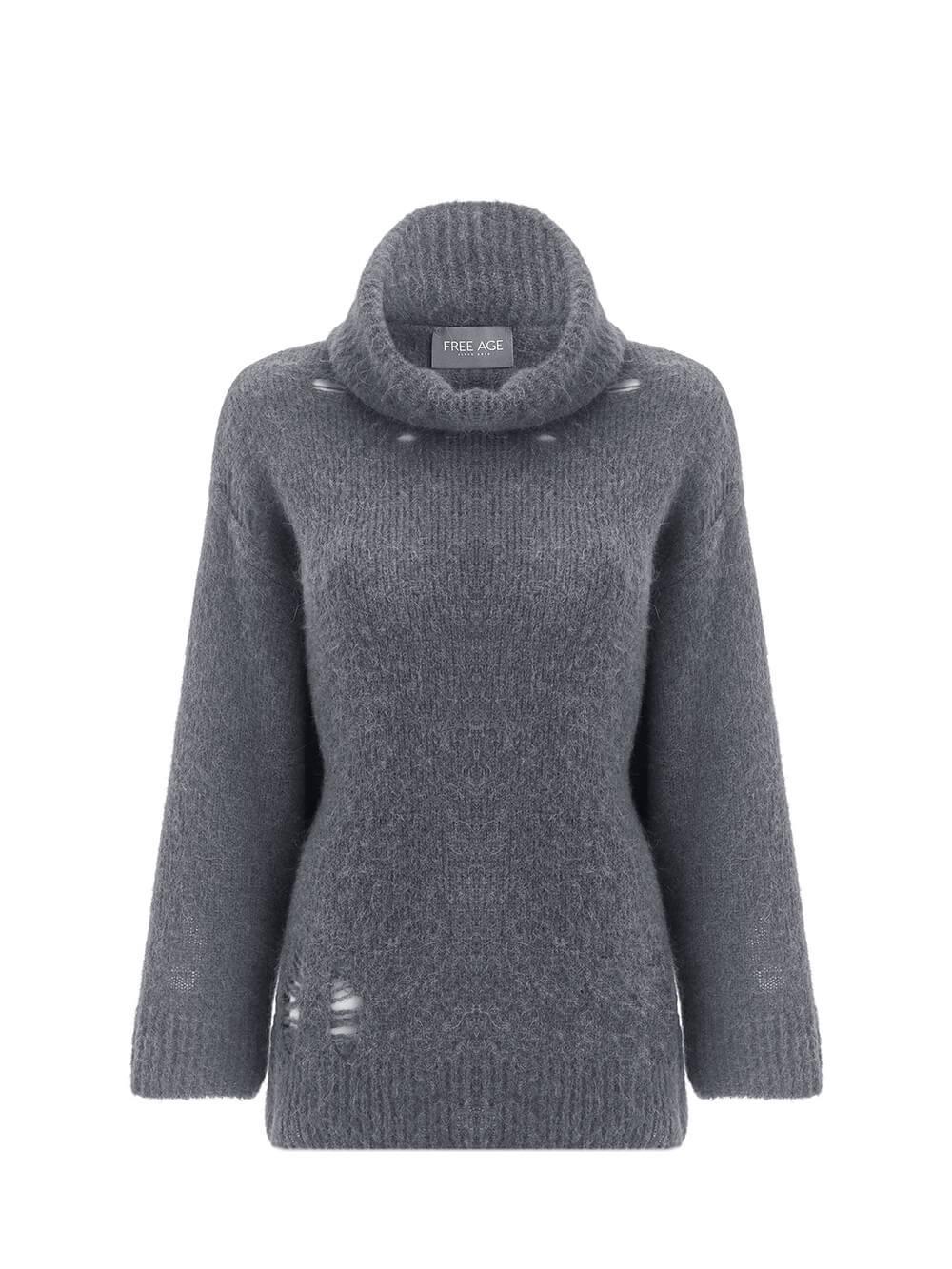 Женский свитер темно-серого цвета из шерсти - фото 1
