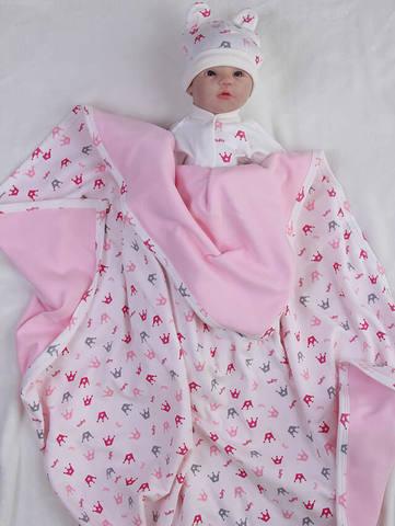 Трикотажный плед Princess (кремовый/розовый)