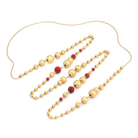 Золотые бусины с HUM (красные)