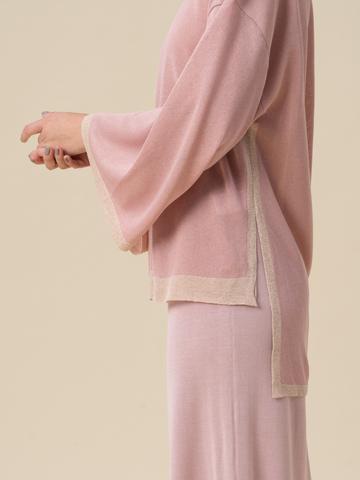 Женский свободный джемпер светло-розового цвета из вискозы - фото 4