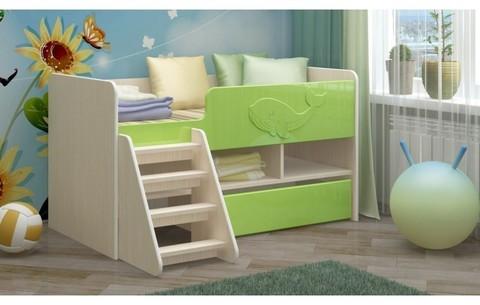 Детская кровать Юниор-3 МДФ салатный, 70х140