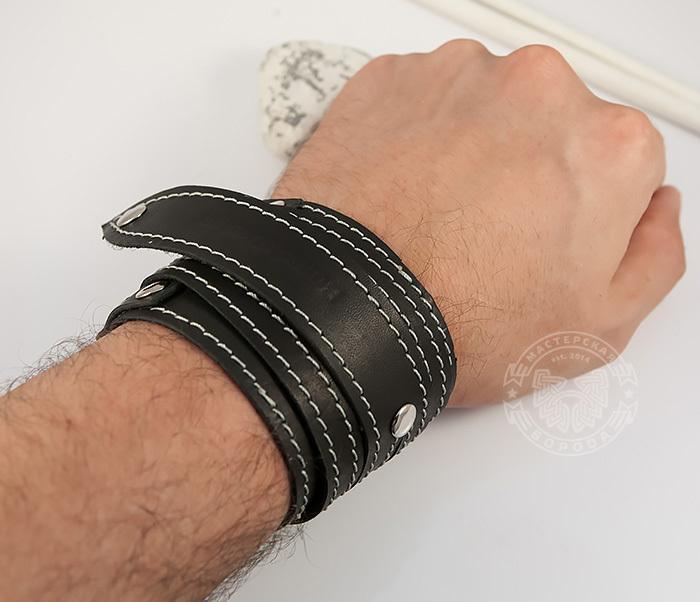 BL425-1 Мужской браслет напульсник из кожи, ручная работа, «Boroda Design» фото 05