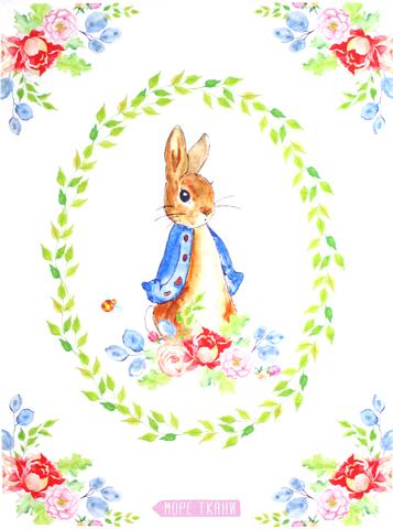 Панель(купон) зайка и цветы(Peter Rabbit)-75*100 см