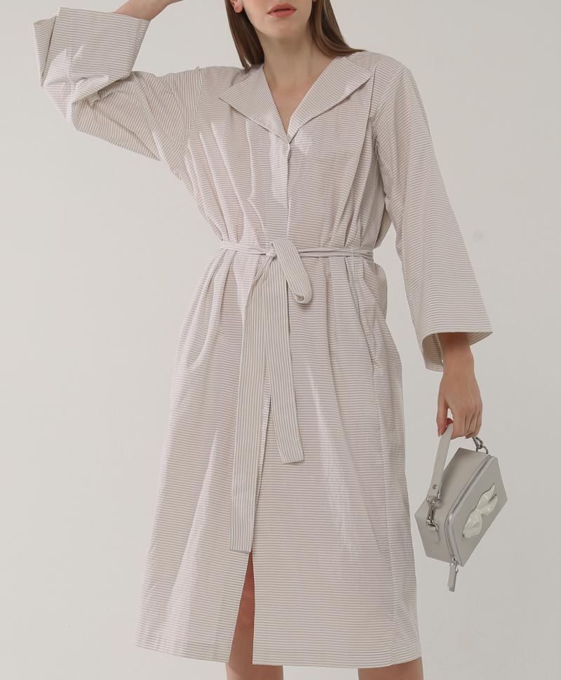 Платье-халат в полоску беж