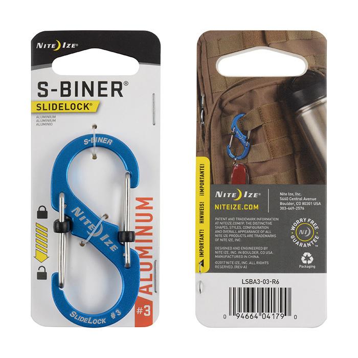 Карабин металлический NiteIze S-Biner Carabiner, алюминевый,размер 3, син.