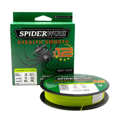 Плетеная леска Spiderwire Stealth Smooth 12 Braid Ярко-желтая 0,13 мм. 12,7 кг. 150 м. (1507376)