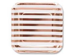 Тарелка фольг розовое золото 25см 6шт/G