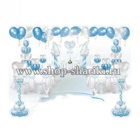оформление свадьбы бело-голубыми шарами