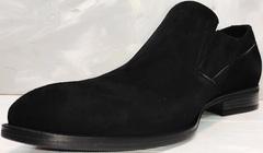 Классические лоферы мужские замшевые Ikoc 3410-7 Black Suede.