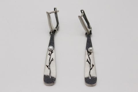Серьги-подвески из серебра с жемчугом 1/20 СИ-24-9 Литва