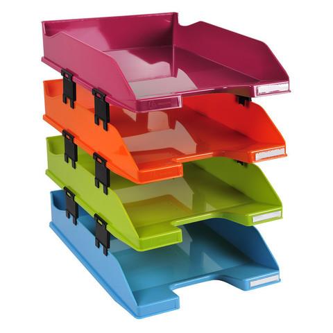 Лоток для бумаг горизонтальный Exacompta разноцветный (4 штуки в упаковке)