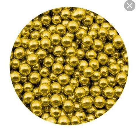Посыпка шарики золотые металлизированные 4-5мм, 25г.