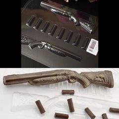 Пластиковая форма для шоколада бол. НАБОР ОХОТНИКА БОЛЬШАЯ ФОРМА (размер ружья 250х40мм)