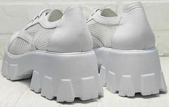 Белые туфли женские на толстом каблуке платформа летние Gold Deer 157-963 White.