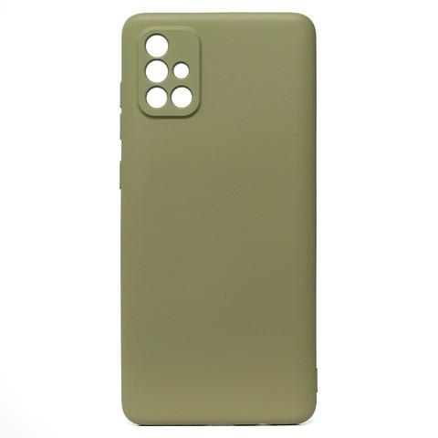 Чехол для Samsung (A715) Galaxy A71 Софт тач мягкий эффект   микрофибра серый