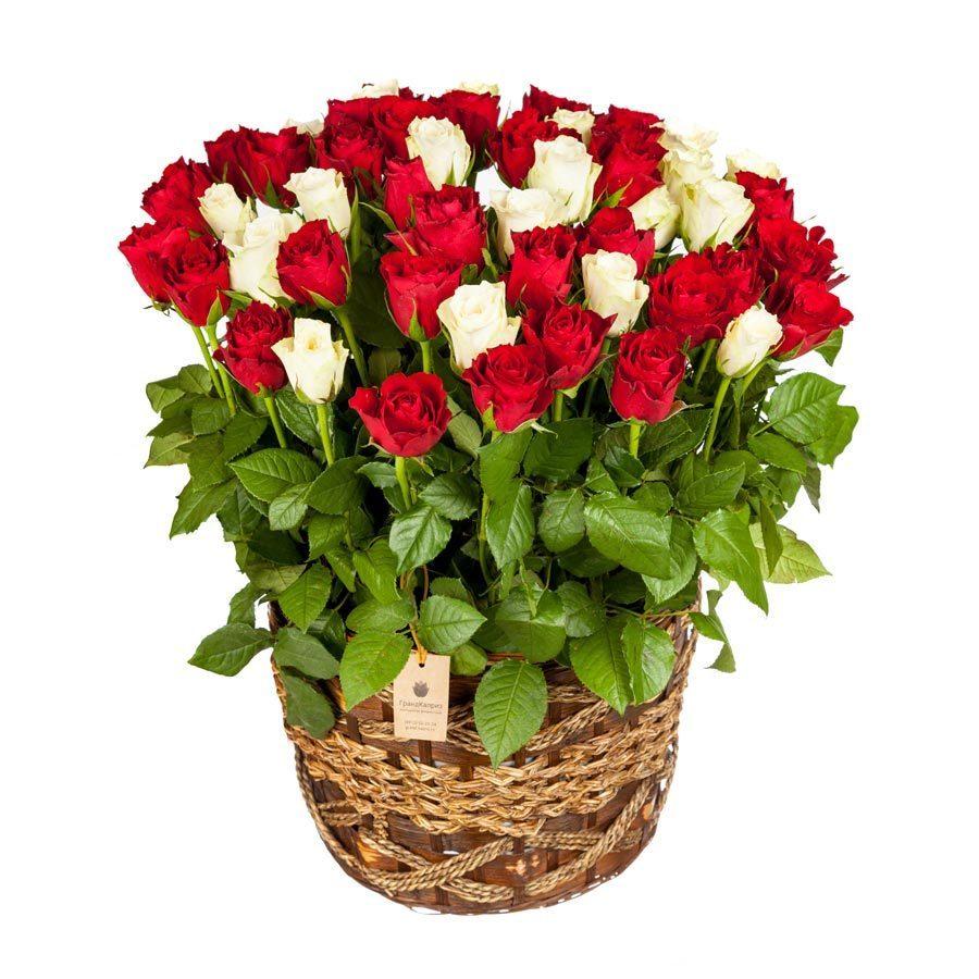 Корзина красных и белых роз (51 шт)