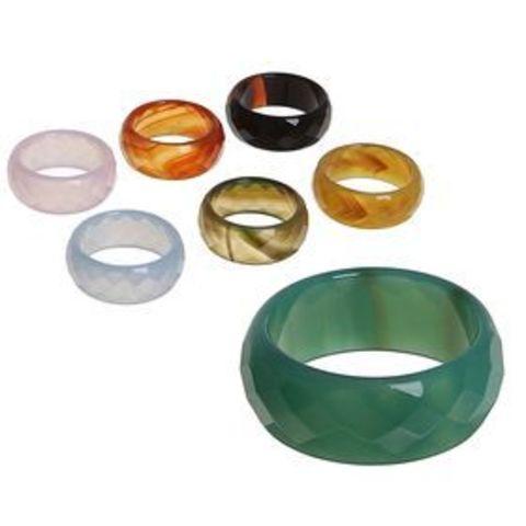 Кольцо натур камень граненный