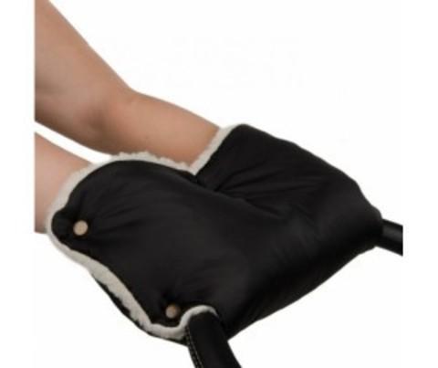 Муфты-рукавички на коляску однотон. (мех)Черный