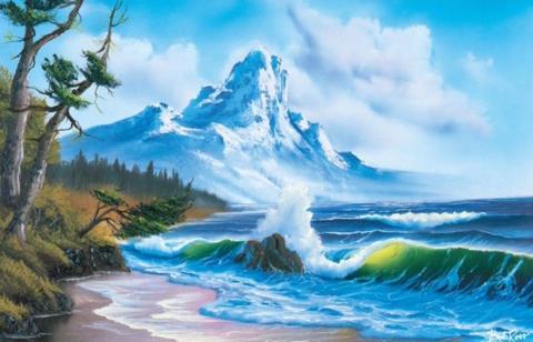 Алмазная Мозаика 30x40 Дикий пляж на фоне гор