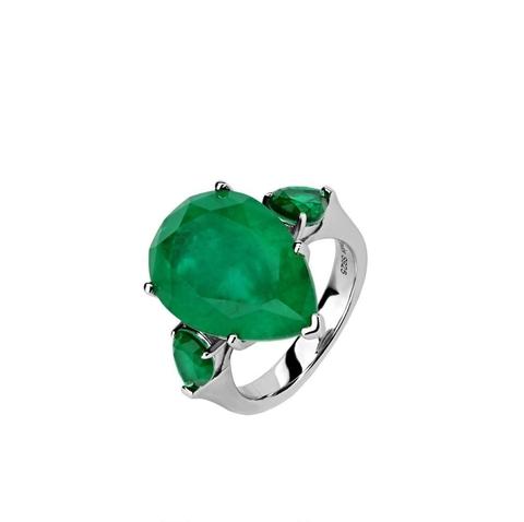 47441 - Кольцо из серебра с изумрудным камнем огранки кушон