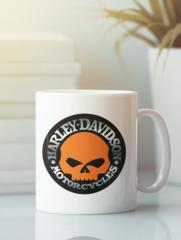 Кружка с рисунком Harley-Davidson (Харли-Дэвидсон) белая 0011