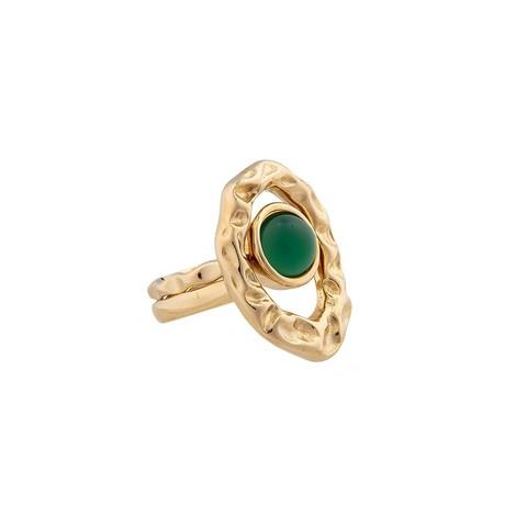 Кольцо двойное Green Agate 16.5 мм K7158.17/16.5 G/G