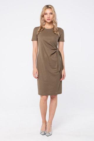 Фото полуприлегающее  платье цвета хаки до колена с коротким рукавом - Платье З447-498 (1)