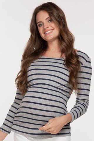 Лонгслив для беременных и кормящих 09045 серый