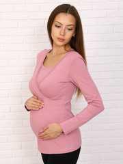 Мамаландия. Лонгслив для беременных и кормящих на запах, пудровый вид 1