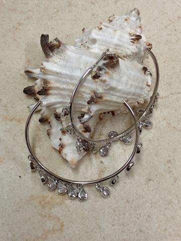 Серьги Монрана с цирконами, серебряный цвет