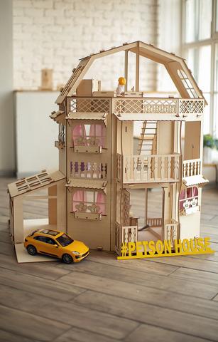 Дом с гаражом и лифтом для барби