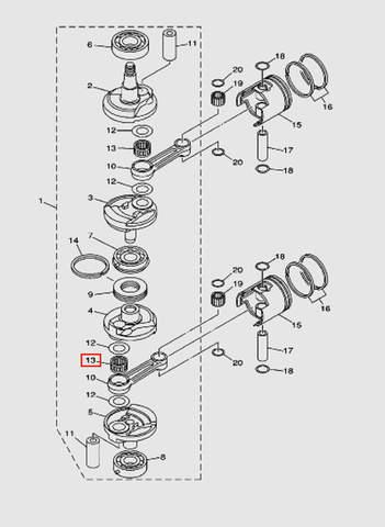 Подшипник коленвала для лодочного мотора T40 Sea-PRO (3-13)