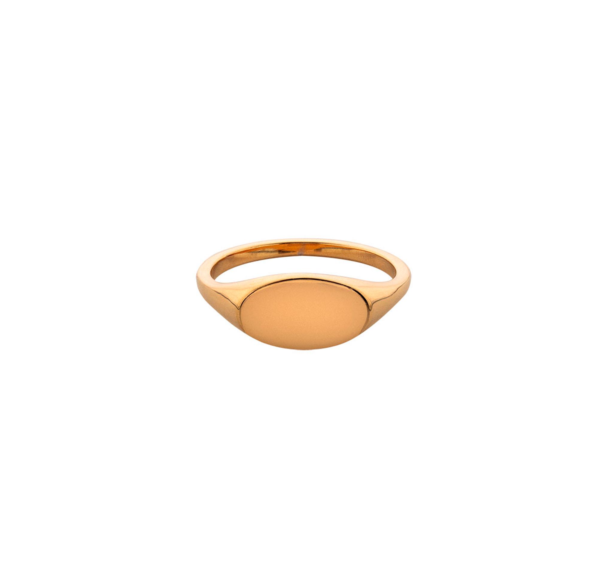 Небольшое кольцо-печатка овальной формы из позолоченного серебра