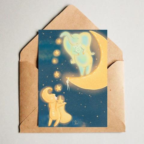 Фотография Открытка авторская почтовая «Гном и слон» / 10*15 см купить в магазине Афлора