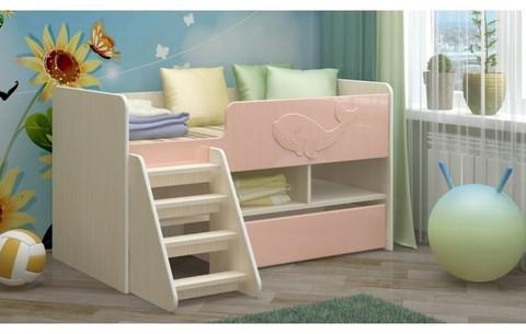 Детская кровать Юниор-3 МДФ, розовый, 70х140