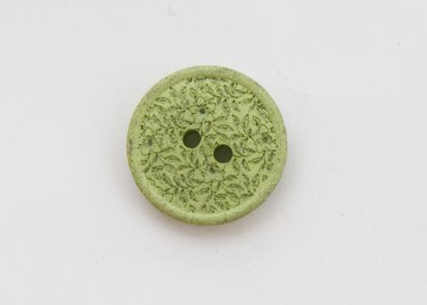 Пуговица с резными растениями, пластиковая,  светло-зелёная, 15 мм