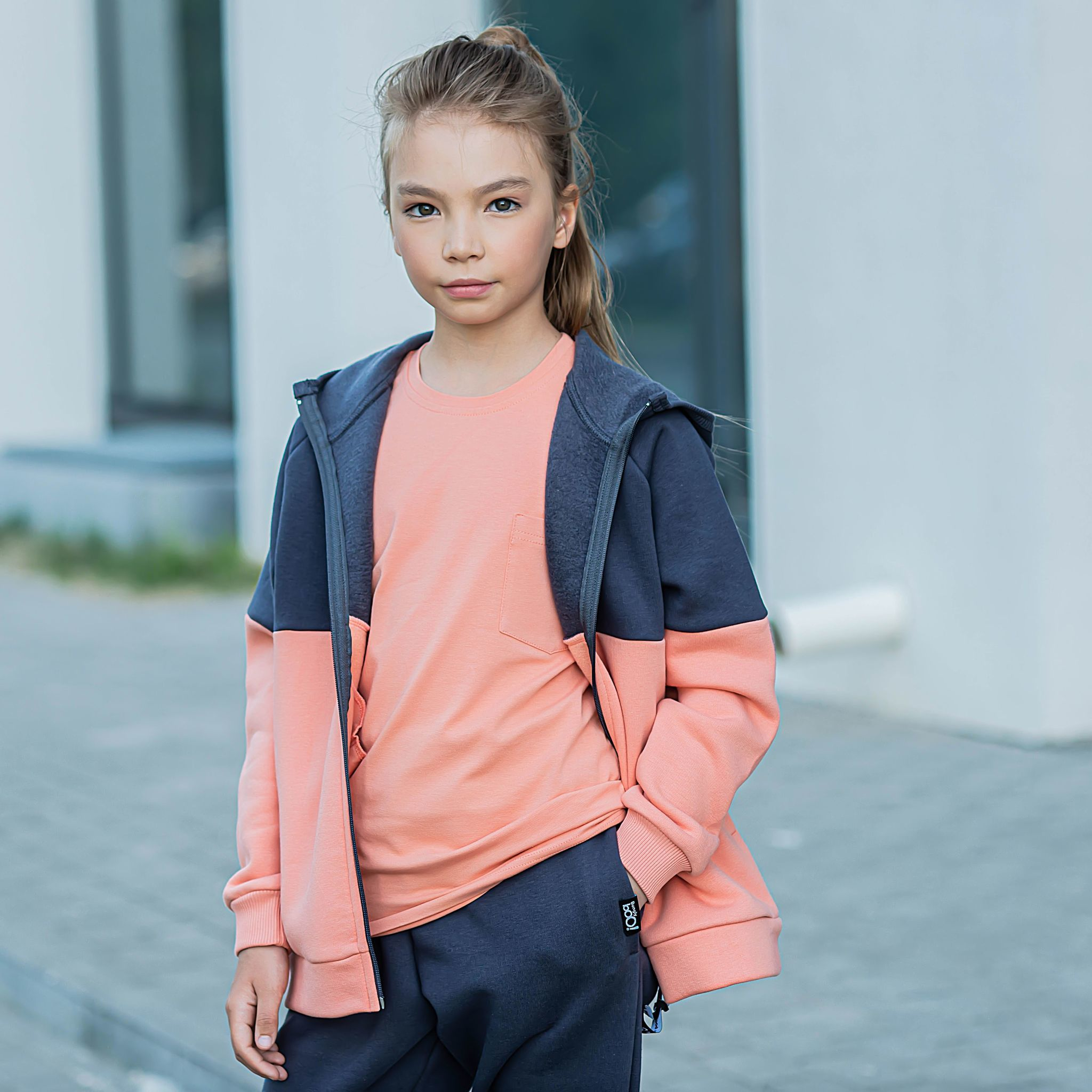Color block warm sweatshirt for teens - Graphite/Coral