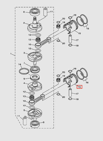 Поршень  STD для лодочного мотора T40 Sea-PRO (3-15)