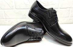 Стильные туфли классические мужские Ikoc 3416-1 Black Leather.