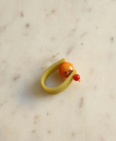 Кольцо на зеленом ремешке СОЛНЕЧНАЯ ОЛИВА